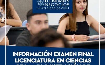 INFORMACIÓN EXAMEN FINAL LICENCIATURA EN CS. DE LA ADMINISTRACIÓN DE EMPRESAS