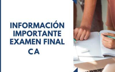 Calendario examen final CA Otoño 2021