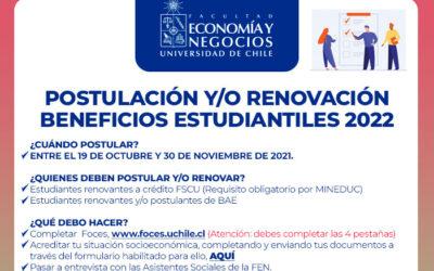 Postulación y/o renovación de Beneficios Estudiantiles 2022